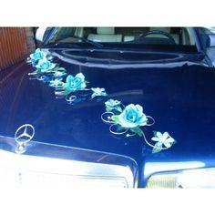 décor de voiture   Décoration voiture mariage turquoise argent rotin - Bouquet-de-la ...