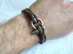 Mens Leather Bracelet with Steel Shackle Clasp Mens Bracelet Mens Jewelry Unisex Dark Hand Stitched Fashion Time Studded Leather, Leather Cuffs, Leather Jewelry, Leather Men, Leather Bracelets, Black Leather, Bracelets For Boyfriend, Bracelets For Men, Fashion Bracelets