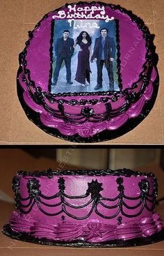 This gorgeous Vampire Diaries birthday cake features an edible topper.  These toppers are a great way to embellish your party cakes and cupcakes and are available in many sizes.  Please visit the link to purchase these sweet cake images plus many other unique Vampire Diaries party supplies.