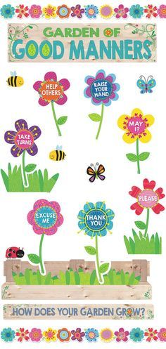 Decorate your classroom for Spring time with this Garden of Good Manners Bulletin Board! Great for teaching positive behavior and manners. Classroom Charts, Classroom Bulletin Boards, Classroom Rules, Classroom Displays, Preschool Classroom, Classroom Themes, Preschool Activities, Bulletin Board Design, Bulletin Board Display