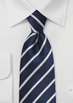 Silk Necktie - Striped pattern in blue and dark blue Notch KY6yk2TKfC
