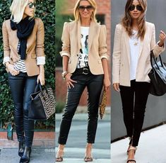 Best Work Outfits For Women Casual Work Outfits, Office Outfits, Chic Outfits, Fall Outfits, Fashion Outfits, Womens Fashion, Beige Blazer Outfit, White Blazer Outfits, Orange Hose