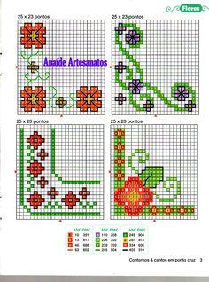 Anaide Ponto Cruz: First part of barred graphics of corner in cross stitch ! Cross Stitch Boards, Cross Stitch Heart, Cross Stitch Flowers, Cross Stitching, Cross Stitch Embroidery, Embroidery Patterns, Cross Stitch Patterns, Pach Aplique, Graph Paper Art