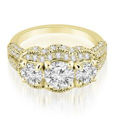 Yellow gold engagement ring   3 stone - sooo pretty...
