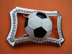 Soccer Ball  Football Rhinestone Sport Game Belt Buckle