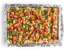 Sheet-Pan Gnocchi with Butternut Squash and Arugula Recipe | Food Network Kitchen | Food Network Arugula Recipes, Recipe Sheets, Sheet Pan Suppers, Salmon Dinner, Gnocchi Recipes, Roasted Butternut Squash, So Little Time, Food Network Recipes, Dinner Recipes