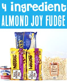 Easy Fudge Recipe - Chocolate Coconut Almond Joy Fudge! This tempting homemade treat serves up the perfect grand finale to any party, and is a must-have addition to your holiday dessert tables! Go grab the recipe and give it a try! Christmas Desserts, Christmas Treats, Christmas Recipes, Fudge Recipes, Chocolate Recipes, Almond Joy Fudge Recipe, 4 Ingredient Desserts, New Years Eve Dessert, Easy Fudge