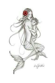 Future Tattoos, New Tattoos, Body Art Tattoos, Sleeve Tattoos, Tatoos, Mermaid Drawings, Mermaid Tattoos, Mermaid Art, Baby Mermaid Tattoo