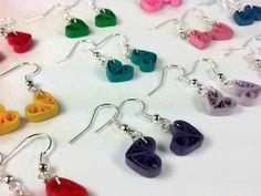 Piccolo cuore orecchini più colori, piccolo cuore orecchini, orecchini di damigella d