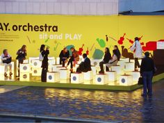 sit and play orchestra interactive installation