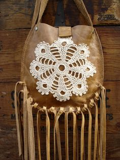 Tan Leather Crossbody Bag with Fringe and Crochet Lace Doily Hazelnut Dreamcatcher - READY TO SHIP