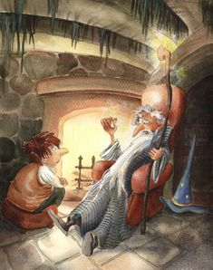 Gandalf the Gray and my favourite Tolkien scene. Gandalf Tells a Story Gandalf, Tolkien, Middle Earth, Lotr, Folklore, The Hobbit, Gnomes, Illustration Art, Fairy