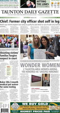 The front page of the Taunton Daily Gazette for Saturday, June 20, 2015.