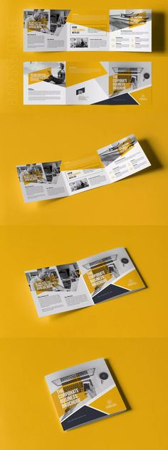 Square Trifold Brochure by on Envato Elements Flyer Layout, Brochure Layout, Brochure Indesign, Template Brochure, Yearbook Layouts, Yearbook Design, Yearbook Spreads, Pamphlet Design, Booklet Design