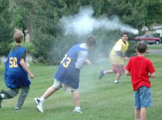 Tried it. Fun! Big hit with the boys.  Pantyhose filled with flour - smoke spells