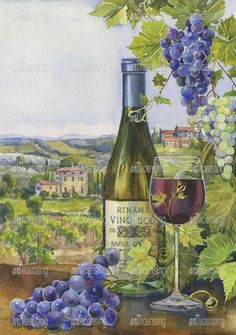 Tuscan wine country grapes wine bottle & glass of wine ~ Toscana by ZPR Int'l Grape Painting, Wine Painting, Wine Bottle Art, Wine Art, Decoupage, Tuscan Art, Italian Paintings, Wine Photography, Wine Signs