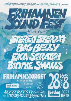 A Poster of Frihamnen Sound Fest (Reggae dancehall and hiphop / Sound system culture) held in Stockholm Sweden, designed by Massa AquaFlow. Presented by Empire Entertainment Stockholm, Bilvande, and Stockholm Brewing co. Music by Stereo Steppas with sound system, Big Belly with sound system, Eka Scratch, and Binnie Smalls #reggae #dancehall #soundsystem #soundsystemculture #hiphop #posterdesign #eventposter #musicposter #handdrawntypography #typo #typography #hiphopculture #reggaeculture Jamaican Restaurant, Party Poster, Dance Hall, Stockholm Sweden, Brewing Co, Reggae, Empire, Hip Hop, How To Draw Hands