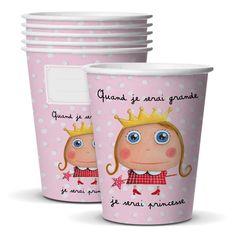 """Gobelets """"Quand je serai grande, je serai Princesse"""" - Le Coin des Créateurs #isabellekessedjian #lecoindescreateurs #feteenfant #decoanniversaire #guirlande #fanions"""