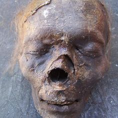 Realistic Mummified Head Halloween Prop for sale by Bizarro's Antiques & Oddities at MoreThanHorror.com