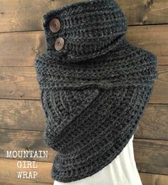 Mountain Girl Crochet Wrap  Katniss Cowl  BLACK by KnotSewKrazy