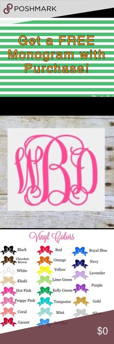 "🍍🍍🍍Get a FREE Monogram with Purchase!! 🍍🍍🍍 🍍🍍🍍🍍Get a Free Monogram with Purchase! 🍍🍍🍍🍍 Purchase an item from my closet & receive a FREE 4"" by 4"" Vinyl Script Monogram Sticker! Once you place your order, leave me comments with color and exactly how you want your Monogram to read. For example, Alicia Johnson Lewis is my full name. My Monogram reads aLj  Color chart is in the last picture. Make sure to leave your first color choice & a second color choice Incase I am out of your…"