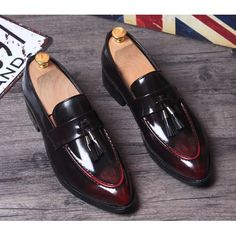 Men Black Burgundy Patent Leather Wedding Prom Dress Moccasin Shoes