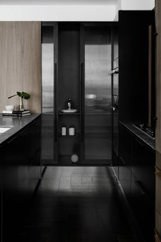 Ribbed glass  Obscured glass  Black kitchen  The New