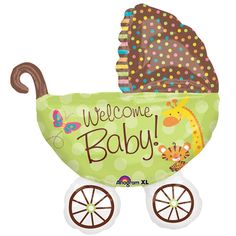 "Baby Buggy shaped Fisher Price foil balloon measures 28"" tall, and will make a super cute addition to your Fisher Price baby shower party supplies!  Designed with the colors and characters of the Fisher Price decorating theme, this SuperShape balloon is both adorable and festive!  Sold 1 per package"