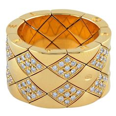 1stdibs - CHANEL Gold and Diamond Matelasse Flexible Ring explore items from 1,700  global dealers at 1stdibs.com