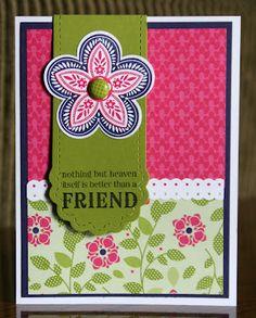 Stampin' Up!  Triple Treat Flower  Krystal De Leeuw  Friend Bookmark