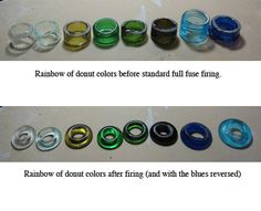Rainbow of recyced glass donuts  Great info for using recycled glass. She also has a newsletter you can sign up for.