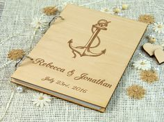 Wedding Guest book Rustic Wood Guestbook Wooden Guest by LaserTree