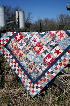 Red white and blue Dancing Stars Quilt Blue Quilts, Star Quilts, Quilt Blocks, Flag Quilt, White Quilts, Primitive Quilts, Quilting Projects, Quilting Designs, Quilting Tutorials
