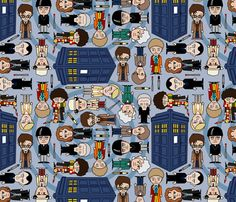 All the Whos down in Whoville - Blue fabric by thirdhalfstudios on Spoonflower - custom fabric