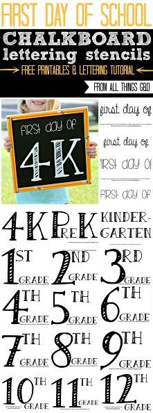 First Day of School Chalkboard Templates {All Things G&D | Pinterest ...