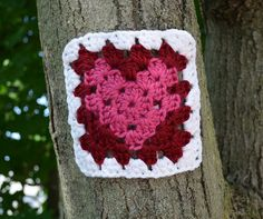 A Granny Square with a heart. Part of our yarn bombing of Shakespeare & Co, Lenox MA http://www.colorfulstitchesblog.com/?view=magazine