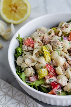 side angle of Loaded Tuna Pasta Salad Healthy Tuna Salad, Tuna Salad Pasta, Healthy Eating, Salad Bar, Salad Recipes, Entrees, Meal Prep, Veggies, Meals