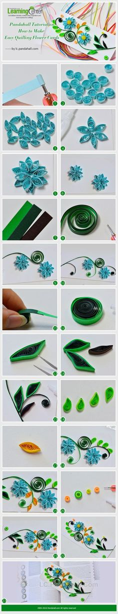 Tutorial on How to Make Easy Quilling Flower Cards from LC.Pandahall.com: