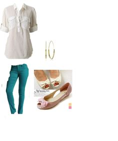 my amateur attempt at a Pinterest outfit put-together. i would wear the white flats, theres a cute pair at Ardene. my white shirt is from h&m but the one in the picture is from Anthroplogie. i have teal skinnies from Stitches. and i have a similar pair of earrings from Aldo that have white decals on them