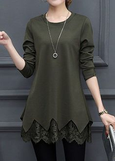 Long Sleeve Scalloped Hem Lace Panel Layered Blouse.