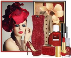 """red sparkly"" by biljana-miric-ex-tomic ❤ liked on Polyvore"