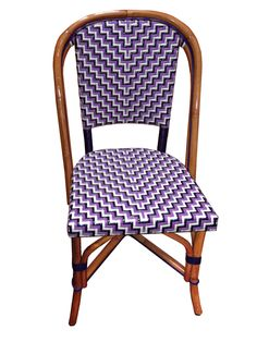 "French Bistro Side Chair, Dimensions : 19 1/4"" Wide x 19 1/4"" Deep x 34""3/4""High ​ Weave: ""L"", LILAC, NAVY & WHITEWood Finish: Light Honey"