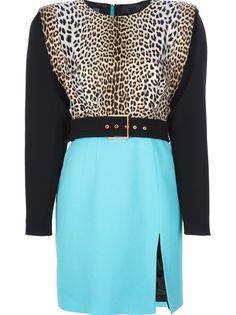 EMANUEL UNGARO Colour Block Belted Dress