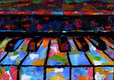 Debra Hurd Original Paintings AND Jazz Art: Abstract piano art painting keyboard painting music by Debra Hurd