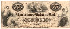 Obsolete bank note, 1854, Manufacturers and Mechanics Bank, Columbus, Georgia