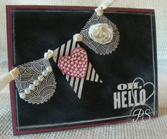 """Stampin' Up!'s """"Oh, Hello"""" and """"Hearts A Flutter"""" stamp sets and """"Hearts A Flutter"""" Framelits, by Stampsnsmiles ♥♥♥"""
