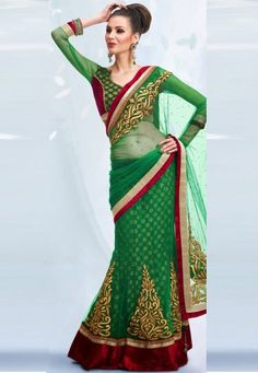 """Green Net & Viscos Designer Saree Designed with Zari, Stone and Patch Border   INR:-8970 Only (With Discount 25% !! Use Coupon Code """"FLAT 25″ To Avail The Discount)"""