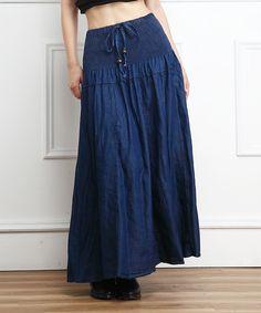 Dark Blue Shirred Denim Maxi Skirt - Zulily, Americana classic
