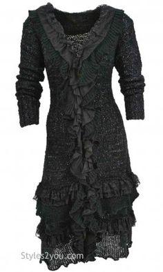 HURRY...HURRY....Ebony Long Vintage Sweater In Black