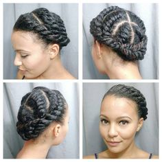 Hi! It's getting quite cold in Toronto...you know what that means! Protective styling! I did these chunky flat twists on stretched hair adding a small spritz of water and eco styler to keep everything smooth.  I twisted the ends of all the flat twists together and pinned them up.  How do you protect your hair during the winter?  #flattwists #naturalupdo  #protectivestyle